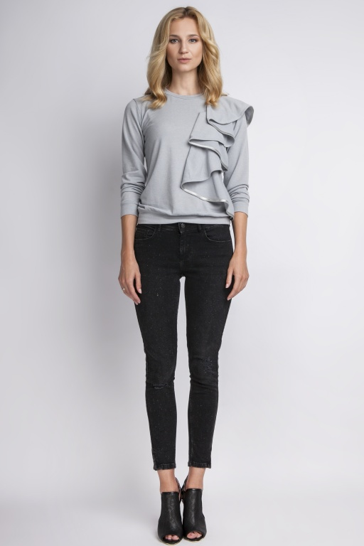 Blouse with flounce, BLU119 gray