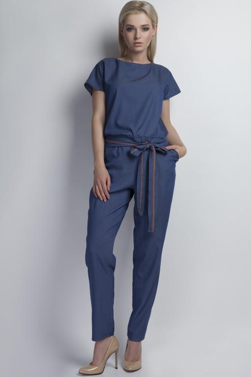 Jeans jumpsuit with belt, KB102 jeans
