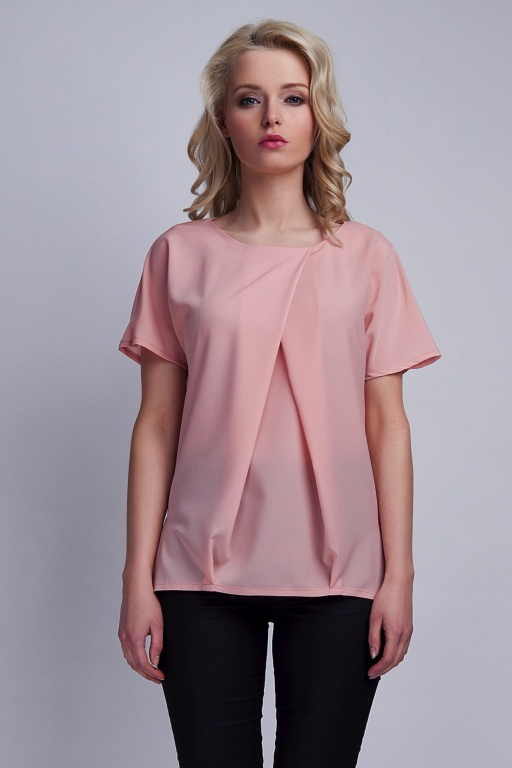 Blouse with pleats, BLU121 pink