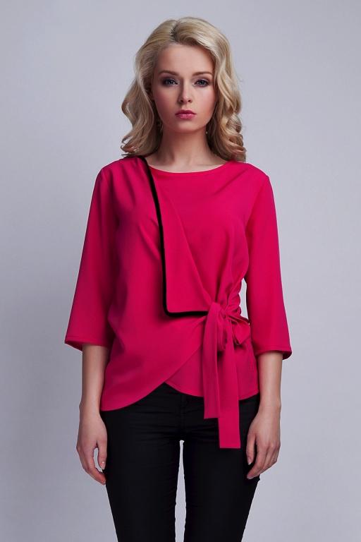 Tied blouse, BLU122 fuchsia