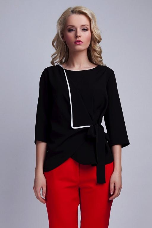 Wiązana bluzka, BLU122 czarny