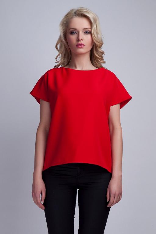 Bluzka z oryginalnym tyłem, BLU123 czerwony