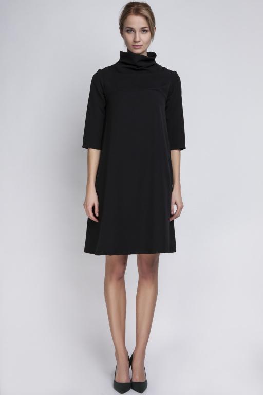 Sukienka z golfem, SUK121 czarny