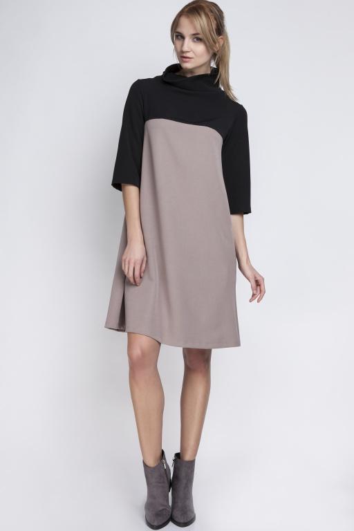 Sukienka z golfem, SUK121 beż