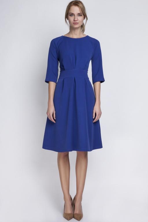 Sukienka z rozkloszowanym dołem, SUK122 indygo