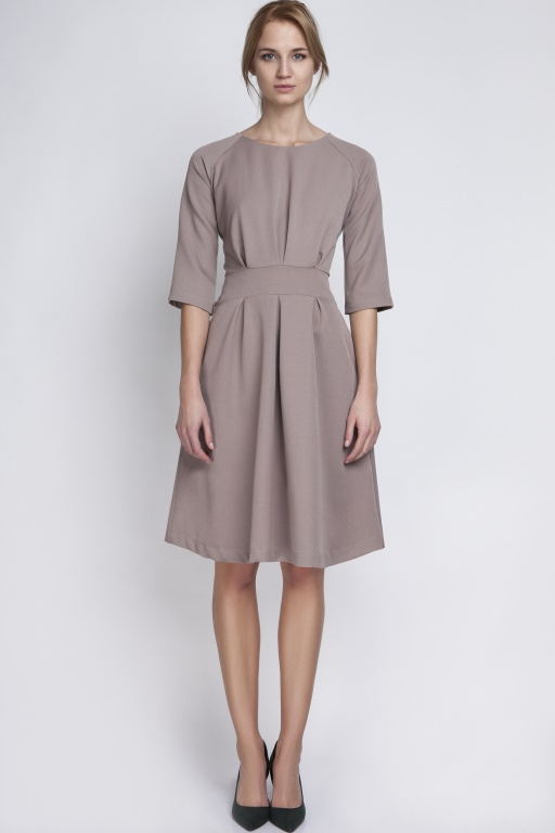 Dress with a flared bottom, SUK122 beige