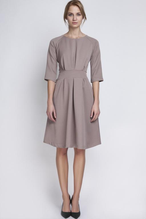 Sukienka z rozkloszowanym dołem, SUK122 beż