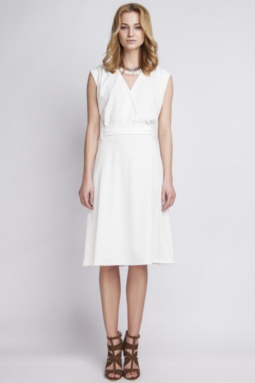 Sukienka w stylu retro, SUK125 ecru