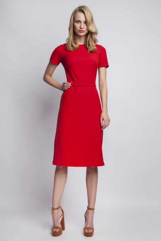 Sukienka z krótkim rękawem, SUK128 czerwony