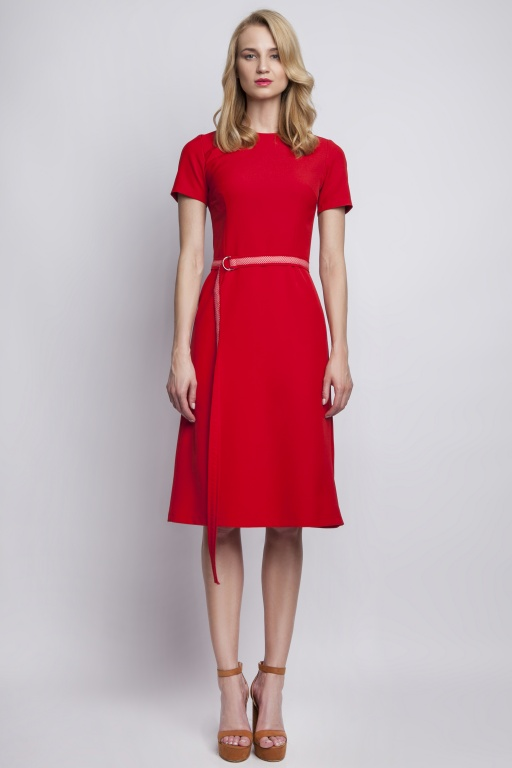 Dress with short sleeves, SUK128 red