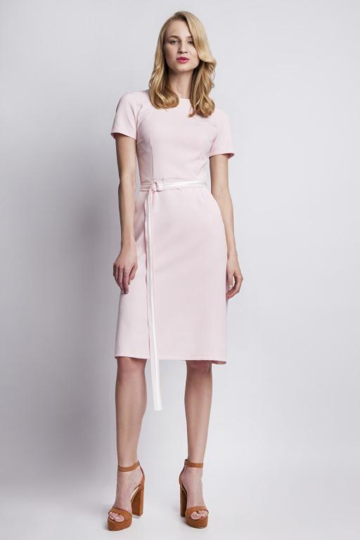 Sukienka z krótkim rękawem, SUK128 róż