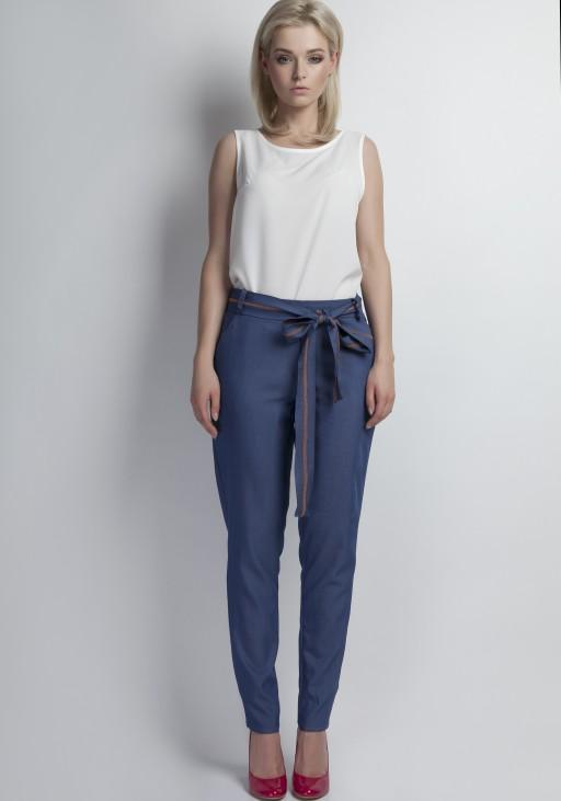 Jeansowe spodnie z szarfą, SD110 jeans