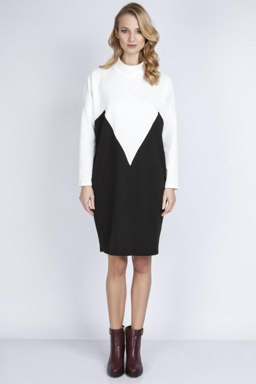 Two-color dress, SUK 134 ecru