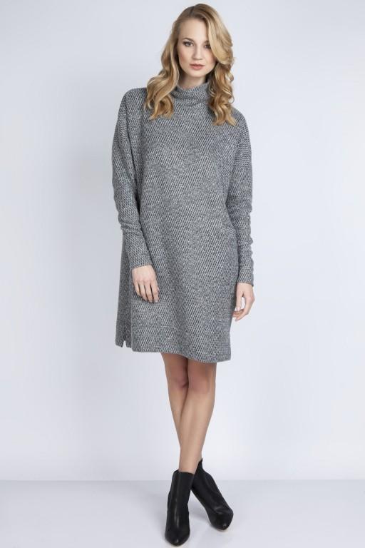 Dzianinowa sukienka, SUK135 szary