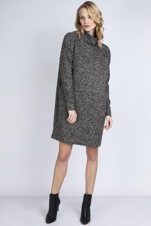 Dzianinowa sukienka, SUK135 brąz