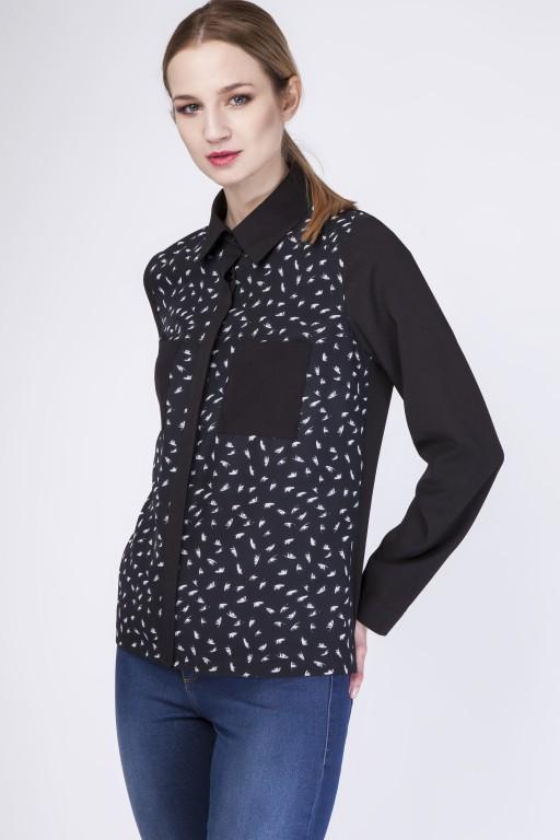 Zwiewna koszula, K103 piórka/czarny