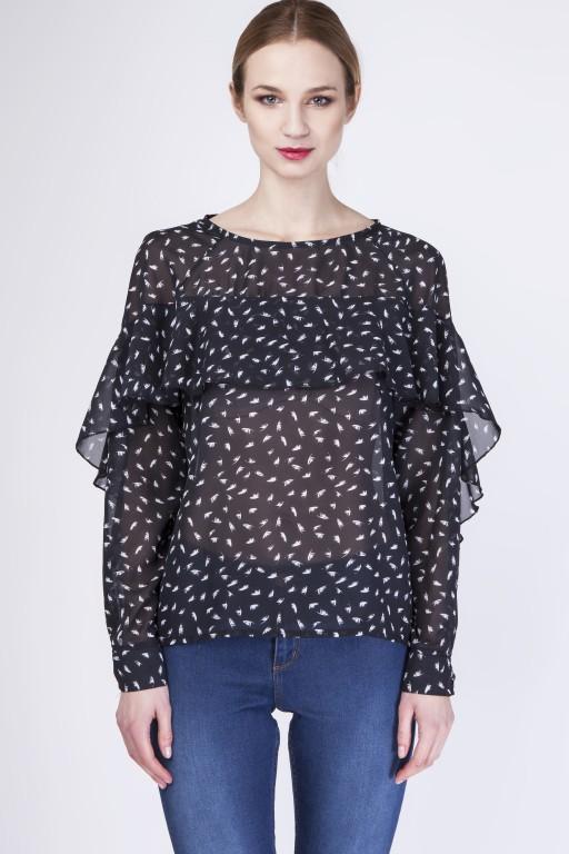 Fenomenalna bluzka, BLU130 piórka/czarny