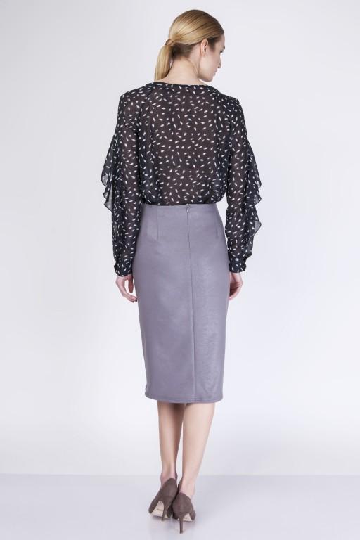 Elegant knee-length skirt, SP114 gray