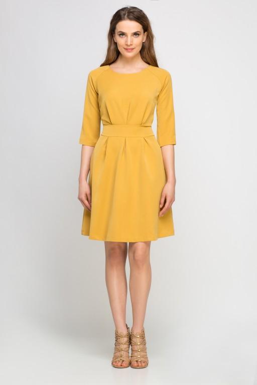 Sukienka z rozkloszowanym dołem, SUK122 musztarda