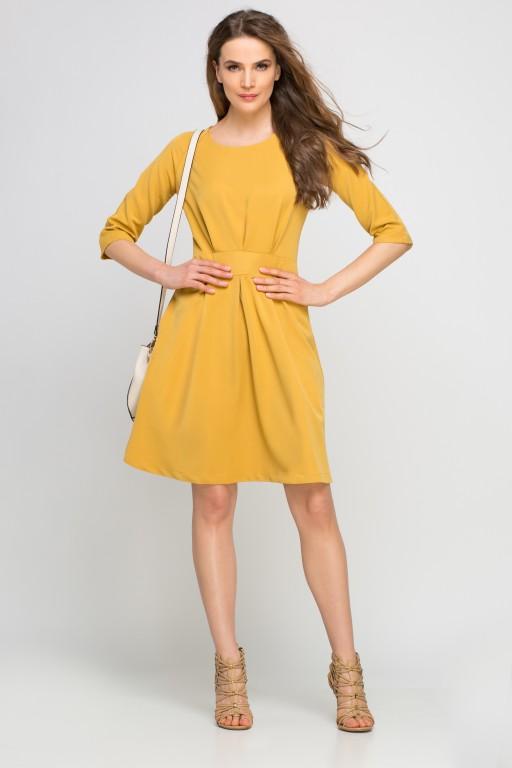Sukienka z rozkloszowanym dołem, SUK122 musztardowa