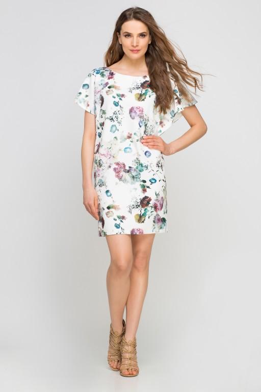 Sukienka z oryginalnymi rękawami, SUK104 kwiaty