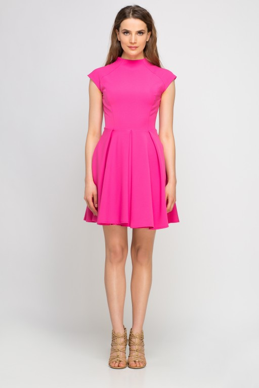 Dress with standing collar, SUK143 fuchsia