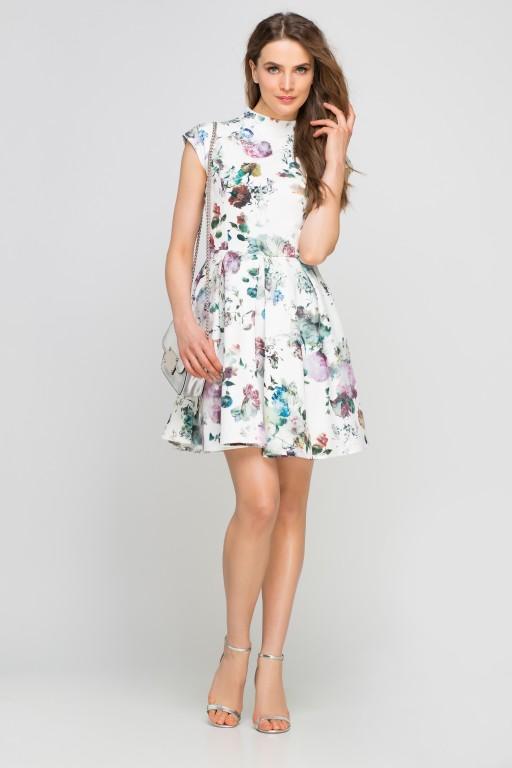 Sukienka ze stójką, SUK143 kwiaty