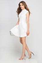 Sukienka ze stójką, SUK143 ecru