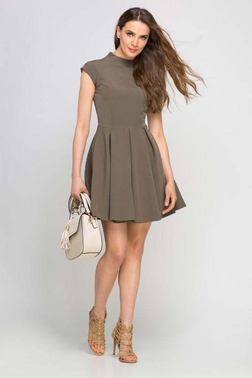 Dress with standing collar, SUK143 khaki