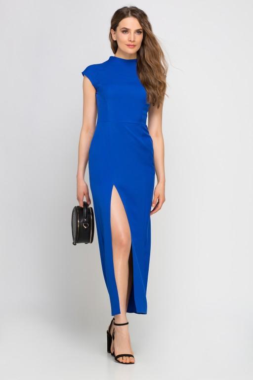 Sukienka maxi z rozcięciem, SUK140 indygo