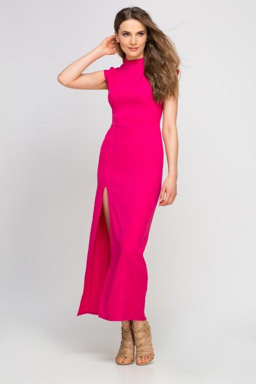 Sukienka maxi z rozcięciem, SUK140 fuksja