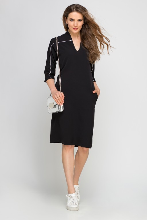 Sukienka z lamówką, SUK141 czarny