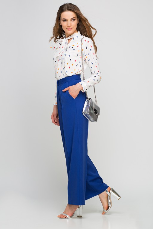 Classic trousers with high waist, SD111 indigo