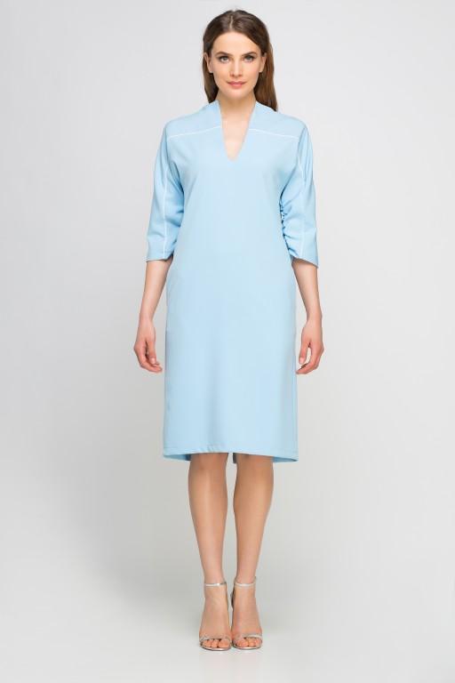 Sukienka z lamówką, SUK141 błękit