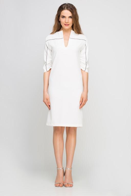 Dress with piping, SUK141 ecru