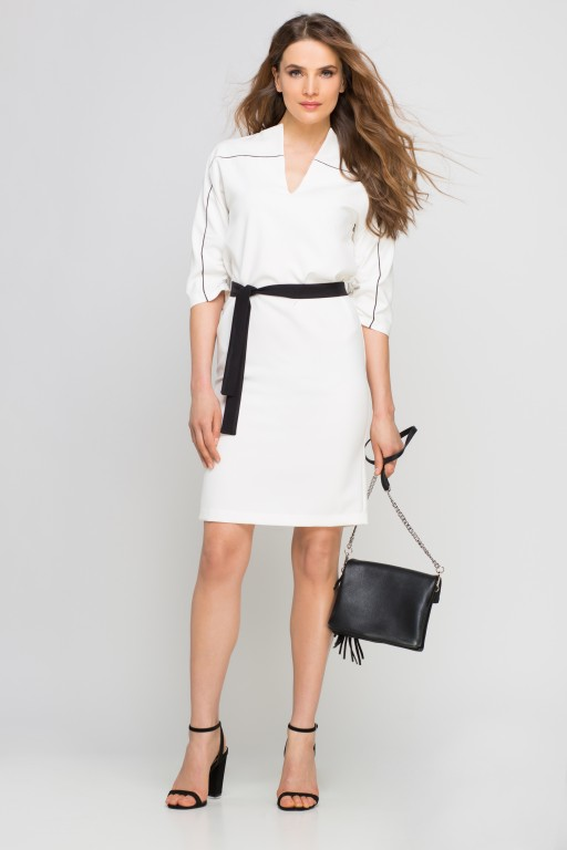 Sukienka z lamówką, SUK141 ecru