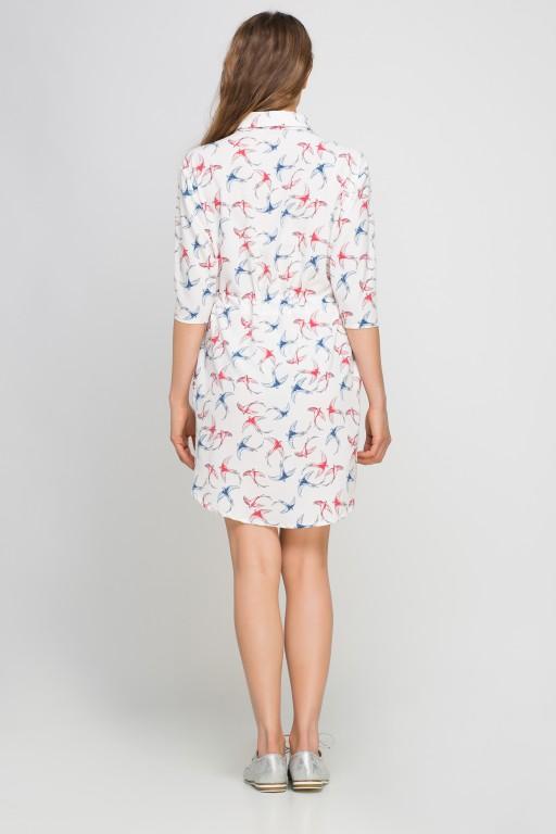 Koszulowa sukienka - szmizjerka, SUK142 jaskółki ecru