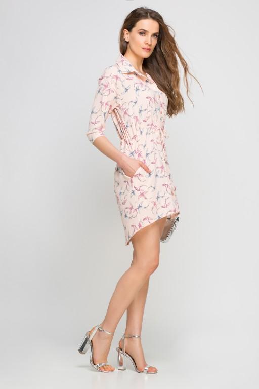 Koszulowa sukienka - szmizjerka, SUK142 jaskółki róż