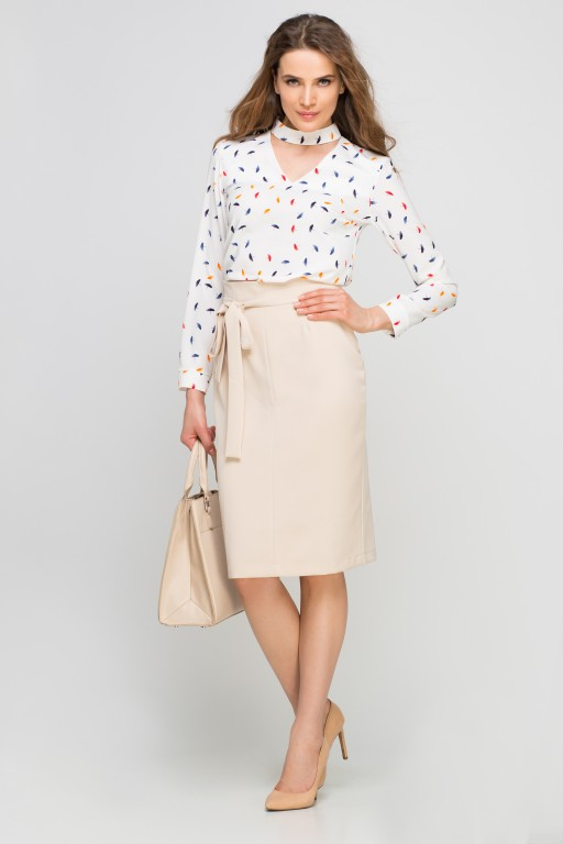 Pencil skirt with sash, SP115 beige