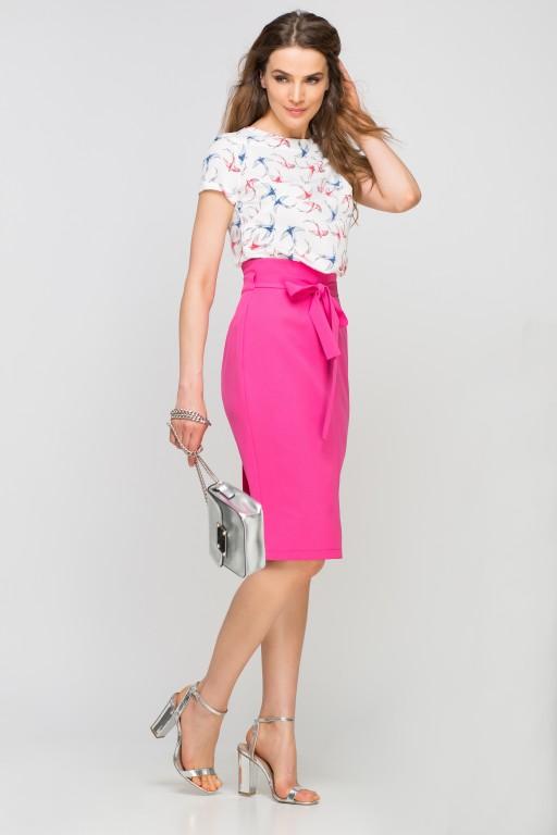 Pencil skirt with sash, SP115 fuchsia