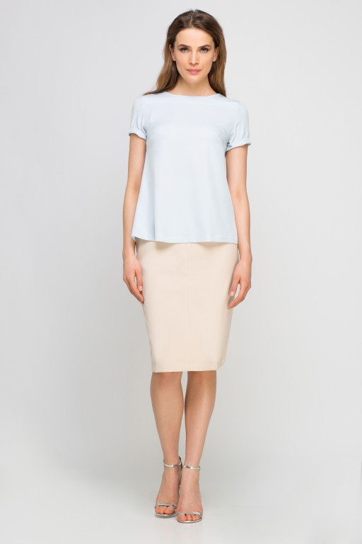 Elegant short sleeve blouse, BLU133 light blue