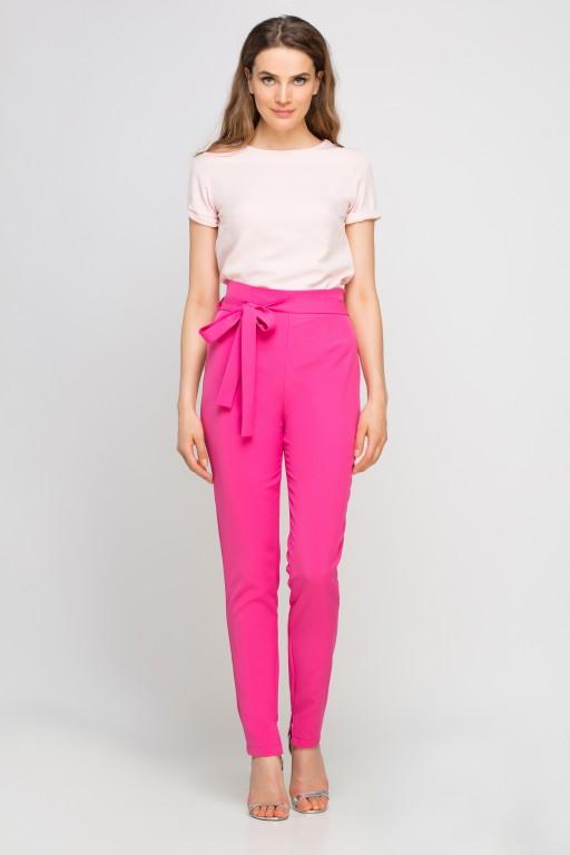 Elegancka bluzka z krótkim rękawem, BLU133 róż