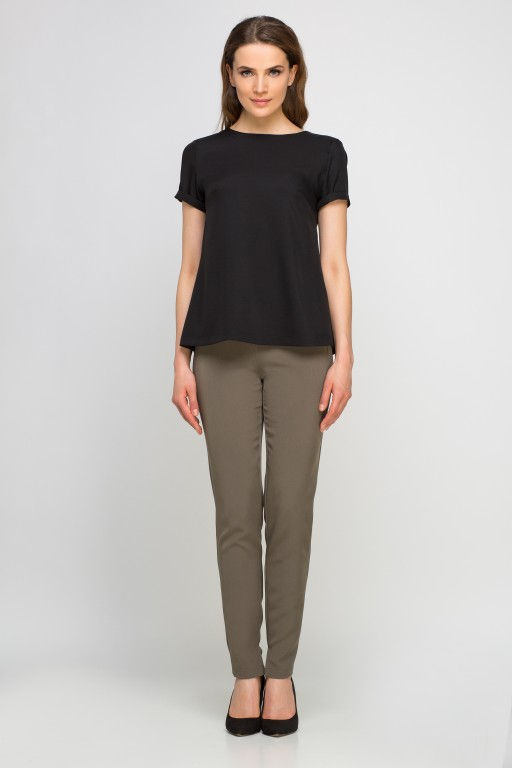 Elegant short sleeve blouse, BLU133 black
