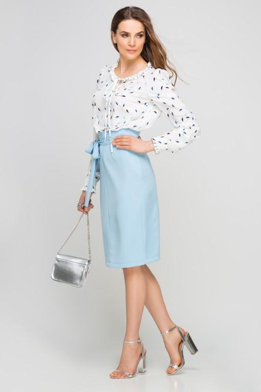 Bluzka z wiązaniem na dekolcie, BLU134 parasolki niebieskie