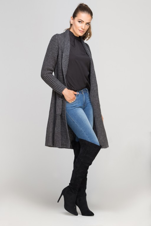 Knitted coat, SWE112 graphite