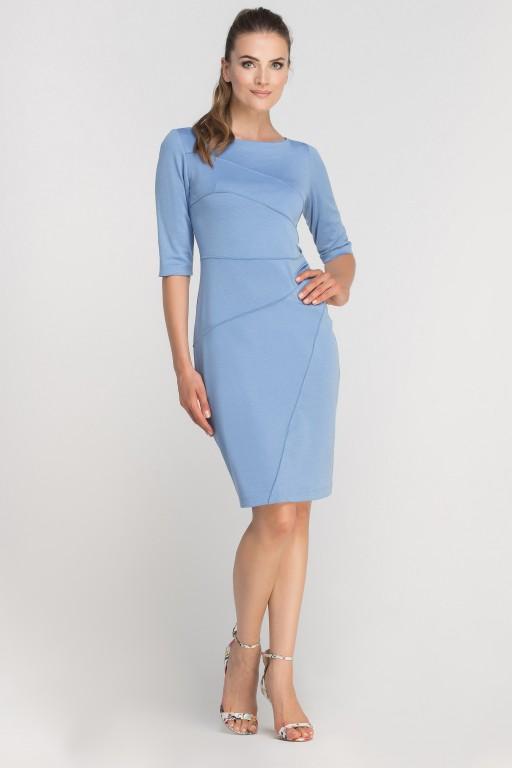 Sukienka dopasowana z przeszyciami, SUK146 błękit