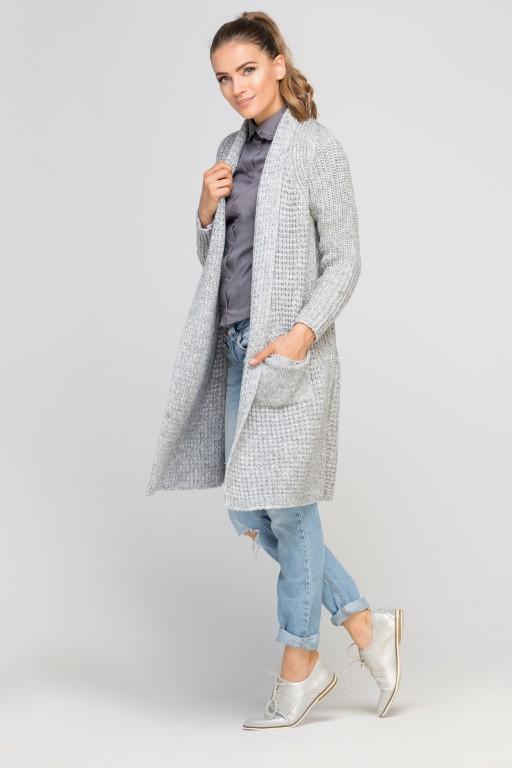 Dzianinowy płaszczyk, SWE112 szary