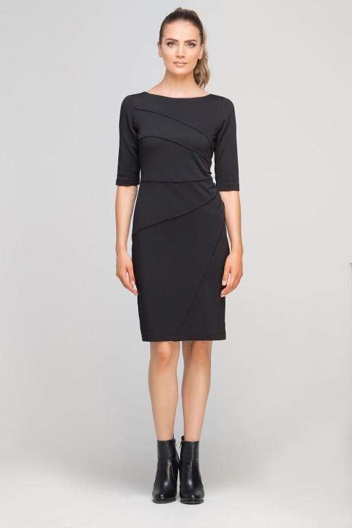 Dress matched with stitching, SUK146 black