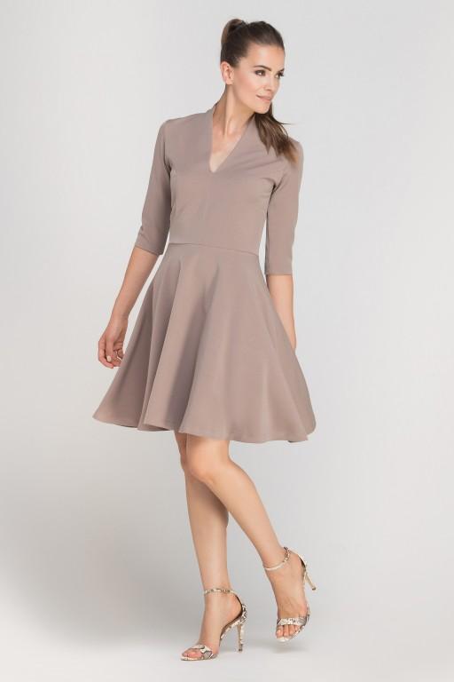 Sukienka rozkloszowana z dekoltem, SUK147 beż