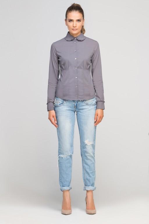 Classic shirt with round collar, K105 grey